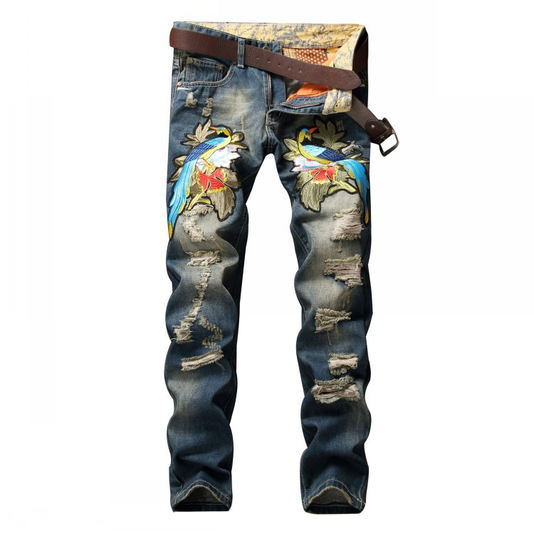 Personality Badge Patchwork Jeans Men Ripped Jeans Embroidery Phoenix Scratched Biker Jeans Hole Denim Straight Slim