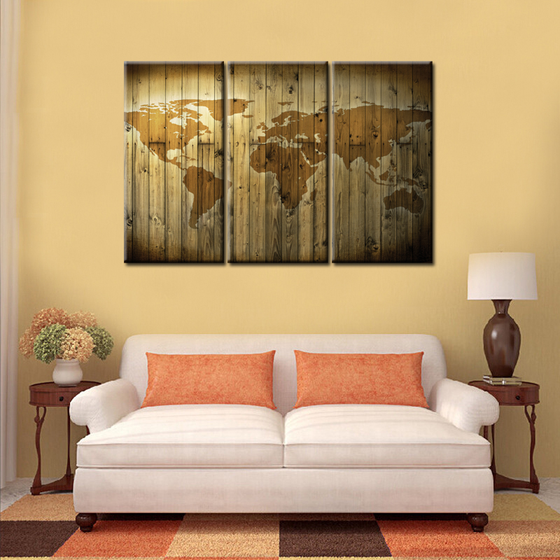 3Panel Vintage World Map Oil Painting Print on Canvas Modular ...