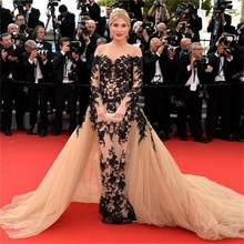 2020 Celebrity Dresses Tulle with Black Lace Dubai Kaftan Prom Gowns Scoop Robe de Soiree Long sleeve vestido de festa(China)