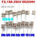 (20 unids/lote) TV fusible de Cerámica Fusible T3.15A 250 V 5X20 MM con el pin