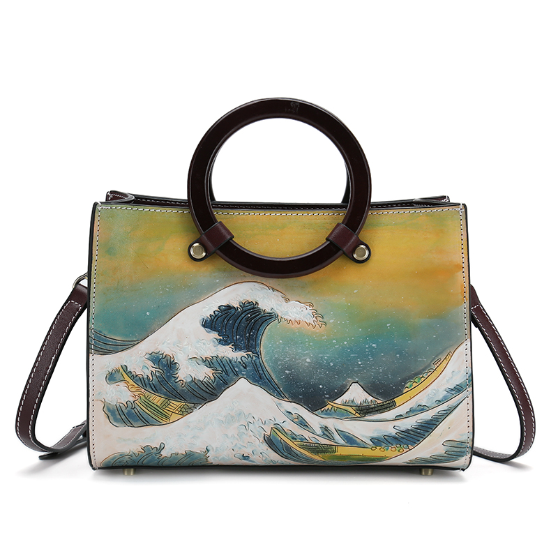 new arrival handmade famous picture pattern women genuine leather handbags female shoulder