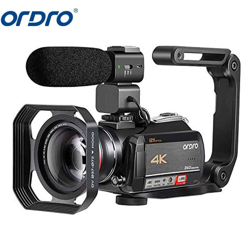 ORDRO AC5 Camcorder 4k Digital Video Camera WiFi 12X Optical Zoom Professional Recording Camara with Wide Angle Lens Microphone