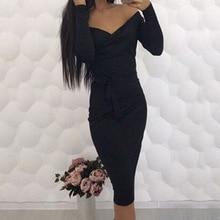 Sexy 2018 Spring Womens Bodycon Bandage Dress Long Sleeve V Collar Party Dress Women Clothing Knee-Length Slim Femme Dress GV299
