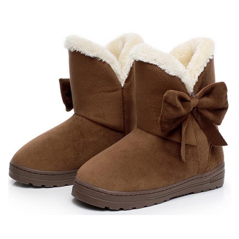 Women Snow Boots Winter Female Ankle Boots Warmer Plush Bowtie Fur Suede Rubber Flat Slip On 2018 Fashion Platform Women Shoes slip on faux fur flat suede snow boots