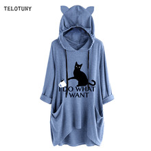 TELOTUNY Long Sleeve Hooded Women Blouse Causal Cat Ear Printed With Pockets 2019 Fashion Irregular Tops T-Shirt Blouse 19L0719(China)