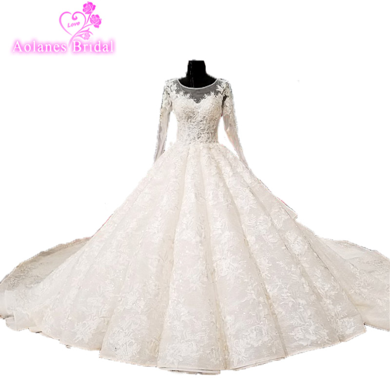Lace Wedding Gown Designer: Wedding Dresses Long Sleeves With Cape Puffy Skirt Bridal