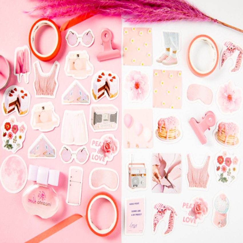 20pack lot Pink Girls Peace Love Stickers Pack Scrapbooking Card DIY Dairy Letter Album Stick Label Decoration in Stickers from Home Garden