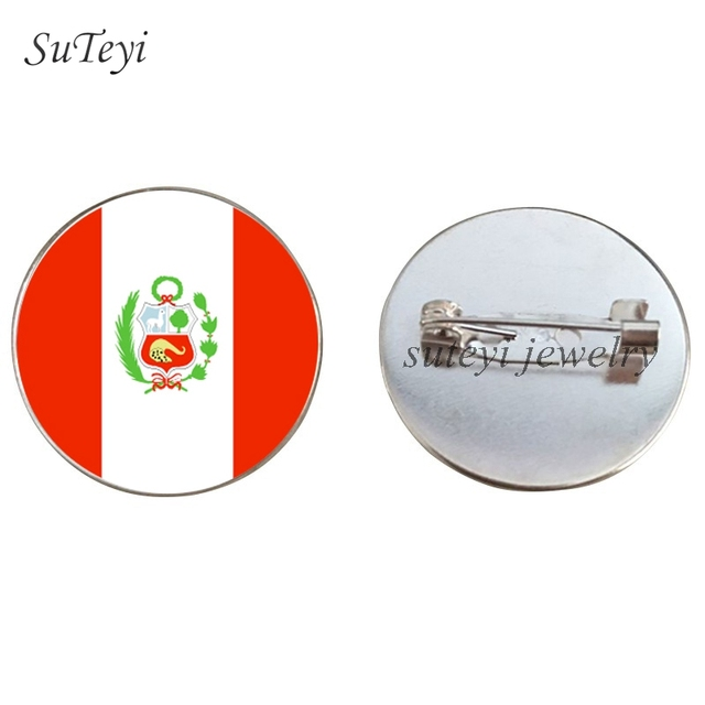 Suteyi High Quality Flag Badges Pattern Pins Brooch Ecuador/Colombia/Guyana/Peru Round Glass Brooches Clothes Accessory Jewelry by Ali Express