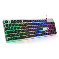Membrane Gaming Keyboard, Colorful LED Backlit Quiet Keyboard for Study,All Metal Panel USB Wired 25 Keys Anti ghosting Computer