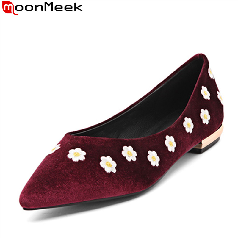 ФОТО MoonMeek 2017 new arrive women flats fashion pointed toe spring autumn genuine leather single shoes simple shallow leisure