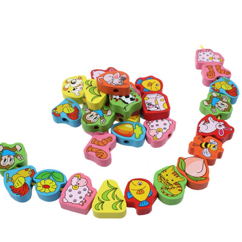 26pcs Baby Wooden Toys Cartoon Lacing Wooden Threading