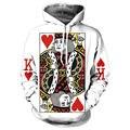 Сердце Карты Мужчины Толстовка 3D Графический Печати Играть В Покер Король Кофты Хип-Хоп Стиль С Капюшоном Спортивный Костюм Мода Пуловер