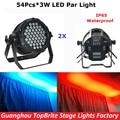 2XLot NEW Design 180W Led Par Light 54X3W RGBW 4 Color Outdoor Flat Par Cans  IP65 Waterproof DJ Disco Stage Effect Party Lights