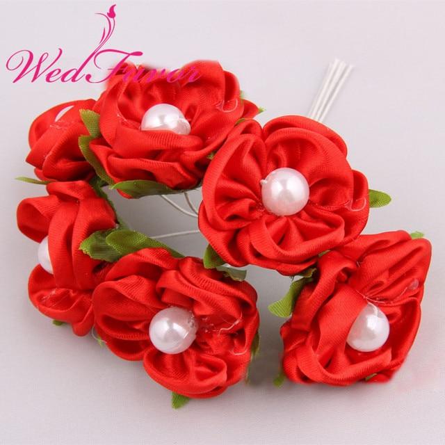 72pcs 4cm Artificial Rose Bouquet Flowers Satin Ribbon Flowers With ...