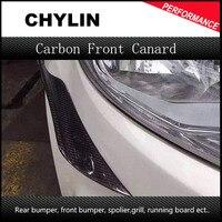 Factory Price Carbon Fiber Universal Short Front Bumper Lip Splitter Decoration Fins Body Spoiler Canards Valence
