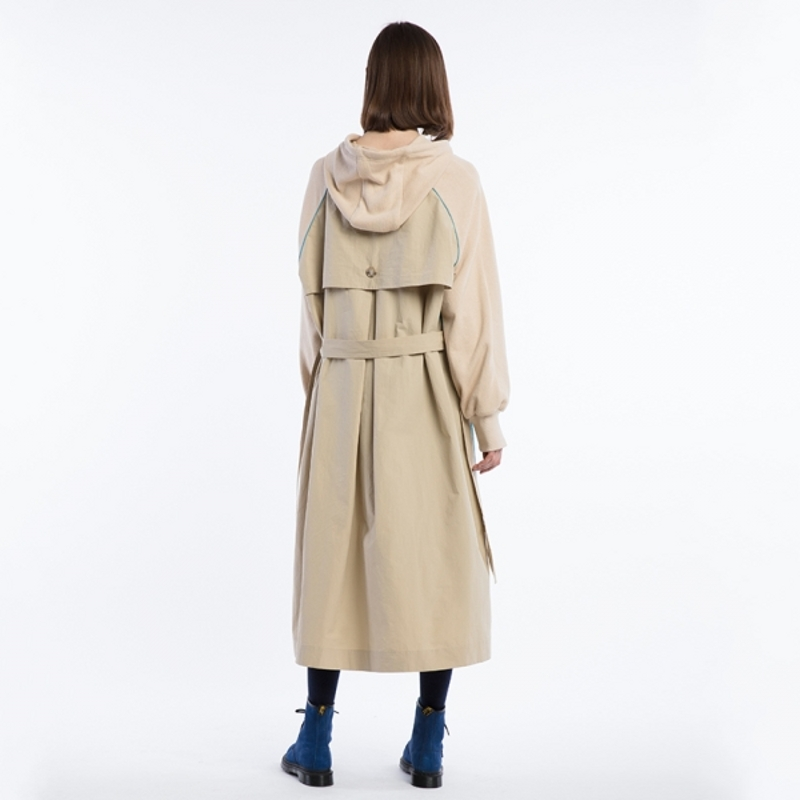 new arrivals 2018 original design oversized long casual trench patchwork printed hoodies dress khaki