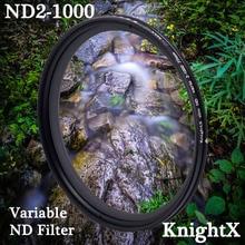 KnightX ND2 để ND1000 Mật Độ Trung Tính Ví Da Cá Biến Bộ lọc ND Có Thể Điều Chỉnh Dành Cho Canon Sony Nikon D5300 49 52 55 58 62 67 72 77 mm