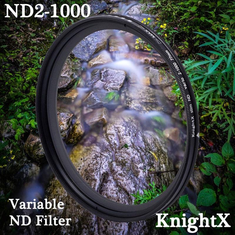 KnightX ND2 a ND1000 densidad neutra Fader Variable ND filtro ajustable para Canon Sony Nikon d5300 49 52 55 58 62 67 72 77 mm