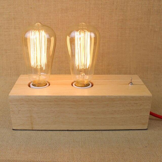 Vintage Double Head Wood Table Lamps Edison Bulb Desk Lamp Wooden