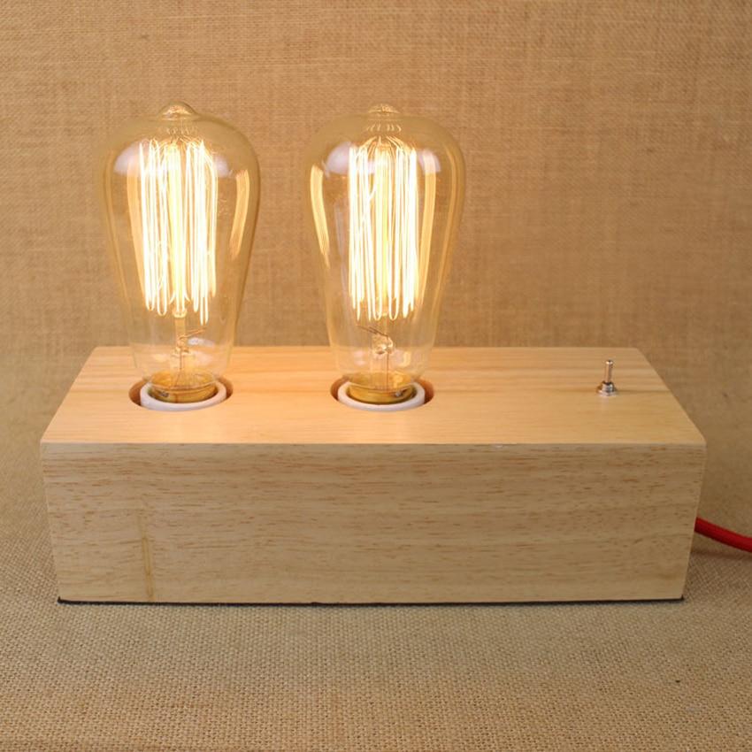 Vintage Double Head Holz Tischlampen Edison Birne Schreibtischlampe Leuchten E27 Moderne Fr Wohnzimmer