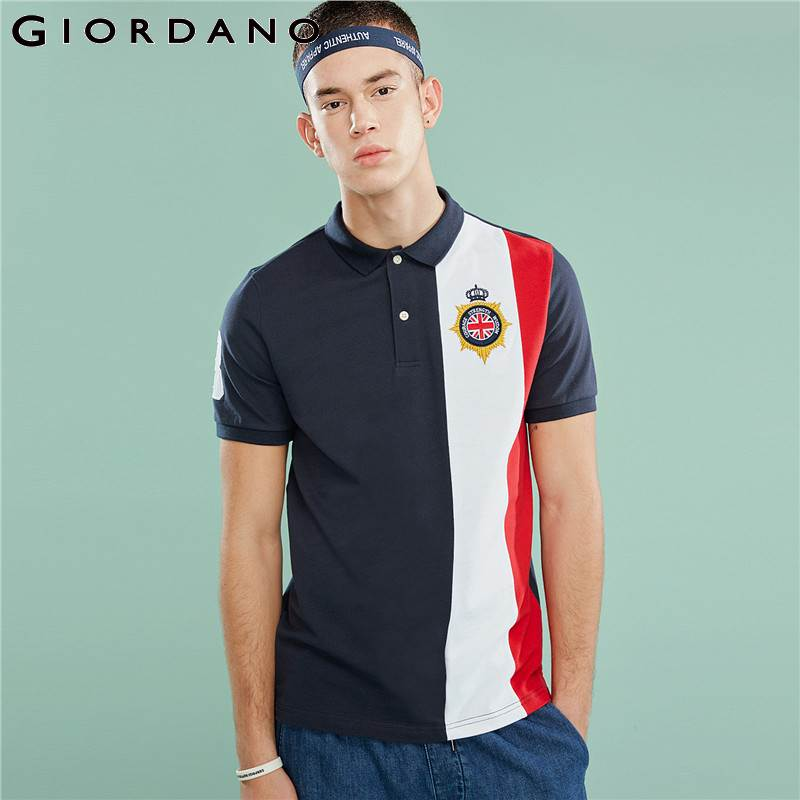 Giordano Men Shirt Men   Polo   Short Sleeves Embroidered Graphic Stretchy Pique Men   Polo   Shirt Side Splits   Polos   Para Hombre
