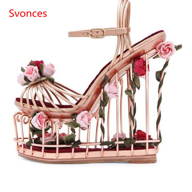 Special Flower Bird Cage Runway Women Shoes Party Female Sandals Summer  Wedges Women s super high heel Platform Sandals Woman 06b68f909668