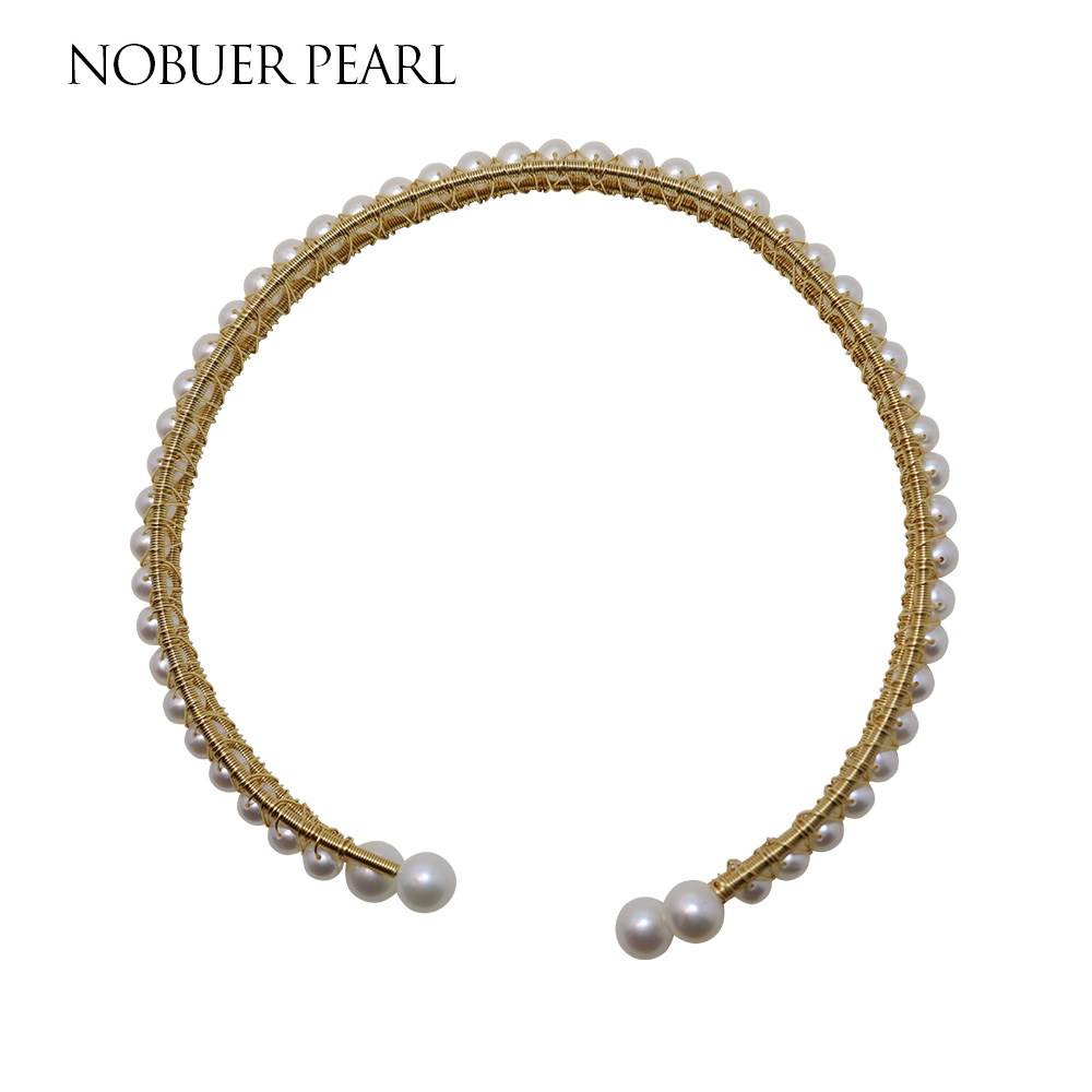 Nobuer 14KGF Link Chain Torques Pearl Necklace White Round Pearl Unique Process Design Real Pearl Chain Necklace For Women