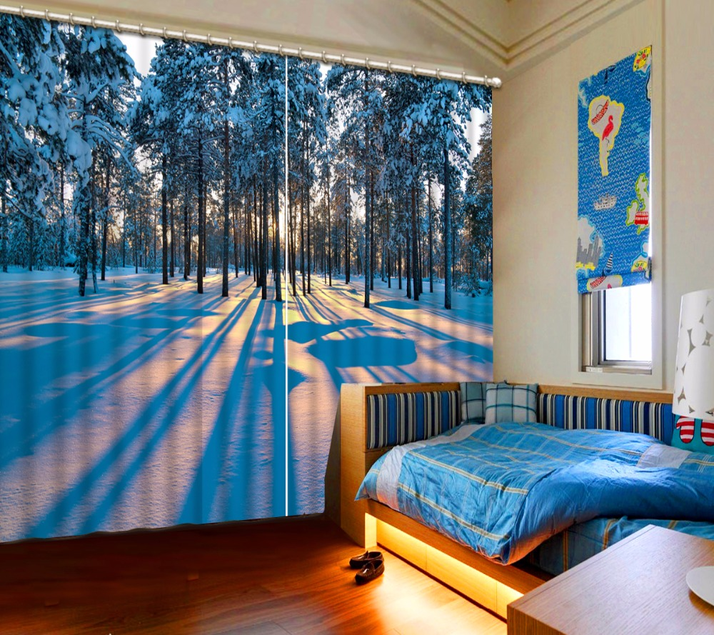 3D Curtain Blackout Shade Window Curtains Sunset Woods Snow Curtains For Living Room Photo Customize Size 3D