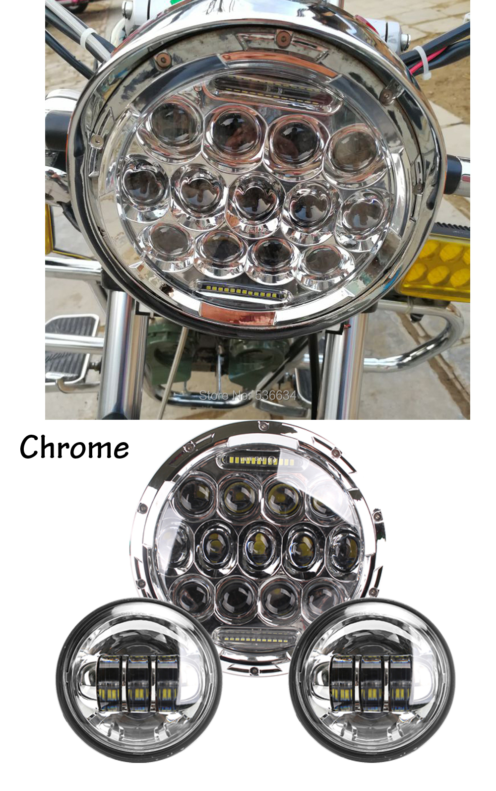 7Inch LED Projector Headlight with Matching 4.5Inch LED Passing Lamps Fog Light For Harley Davidson Heritage Softail