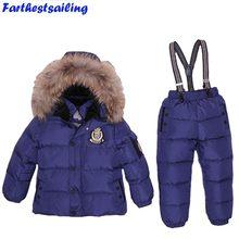 7c4b2c330 -30 الروسية الشتاء Snowsuit الحقيقي الفراء ملابس الأطفال مجموعة داون بوي طفل  أبلى للماء بدلة تزلج الفتيات جاكيتات الاطفال بذلة