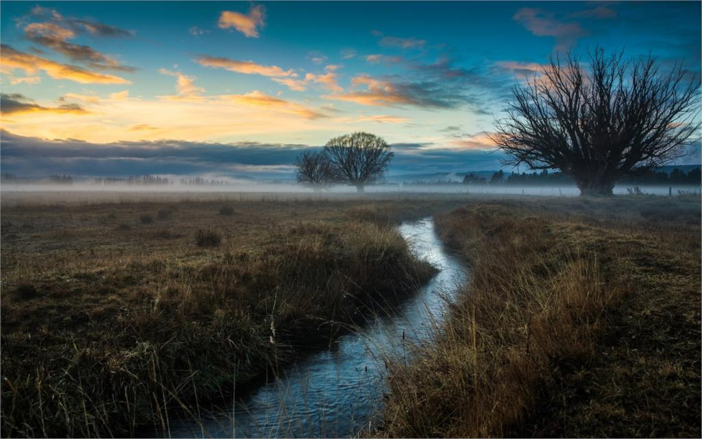Nature landscapes Nature trees field fog stream dawn living room home wall art decor wood frame fabric posters Print