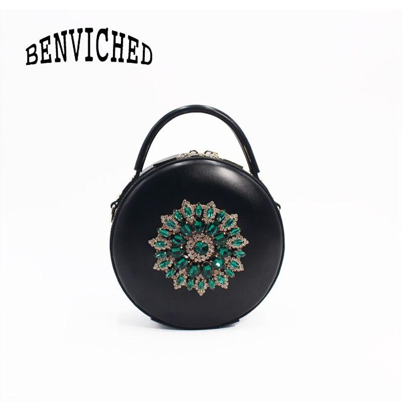 BENVICHED женская сумка из натуральной кожи крупного рогатого скота 2019 Новая Бриллиантовая модная сумка на плечо ретро мини сумка c389