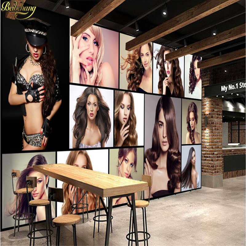 beibehang Custom photo 3d wallpaper personality fashion charm creative hair salon barber shop background murals papel de parede