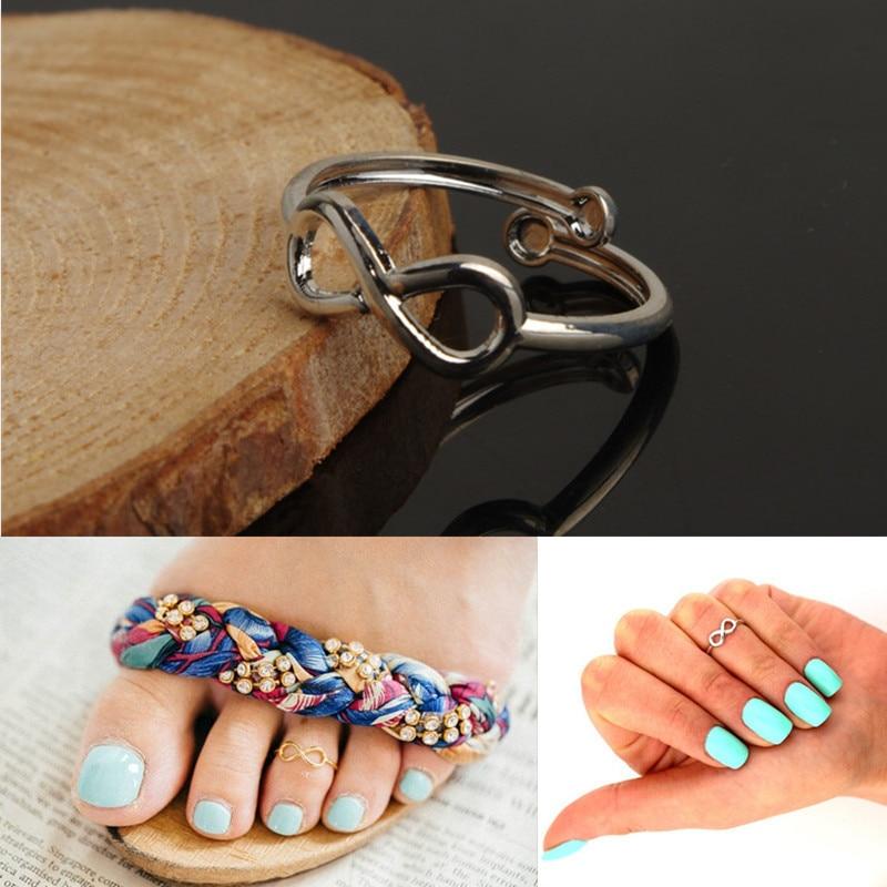 imixlot Boho Minimalist Infinite Love Open Toe Ring 8 Shape Finger Rings Anillos For Women Girls