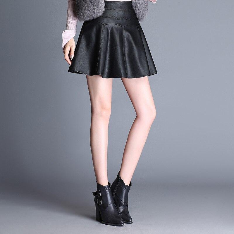 8510ee7f9d Dwayne PU Cuero Faldas 2017 Nueva Otoño Invierno Plus Tamaño 5XL Womens  Casual Negro Mini Falda Plisada Falda Saia Femenina en Faldas de La ropa de  las ...