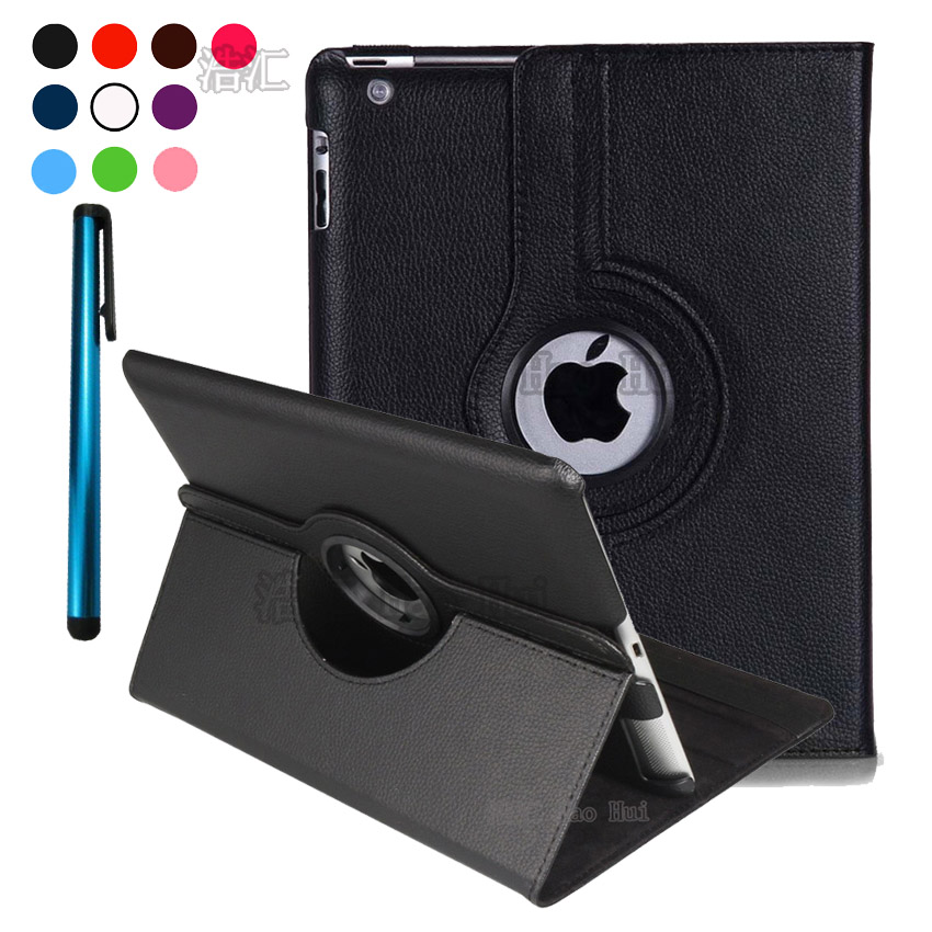 For APPLE Ipad 2 3 4 Tablet Case 360 Rotating PU Leather Coque Cover Smart Stand Auto Sleep /Wake UP Style + Pen + Film