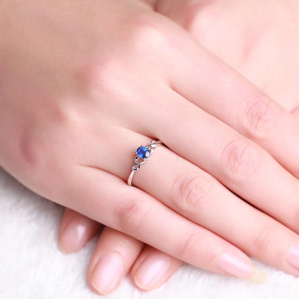 GVBORI 18K White Gold Natural Blue Sapphire Gemstone Ring Wedding ...