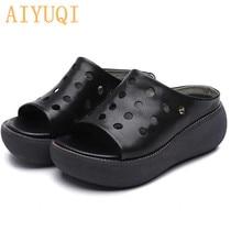 AIYUQI Slipper female platform 2019 new womens slippers genuine leather retro casual summer sandals women high heel flip flop