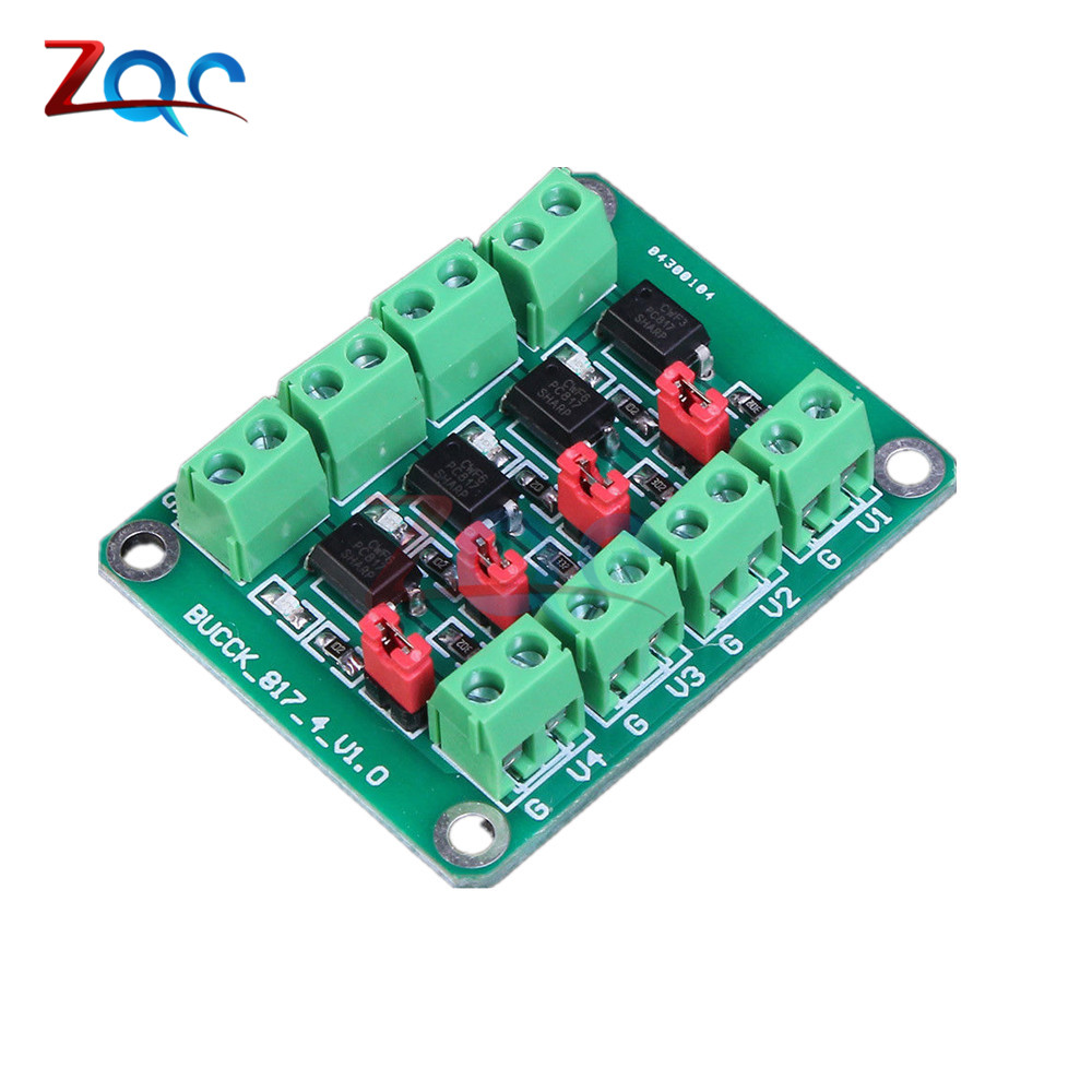 PC817 4 Channel Optocoupler Isolation Board Voltage Converter Adapter Module 3.6-30V Driver Photoelectric Isolated Module 817 4 way photoelectric isolation module plc signal level voltage conversion board pnp output