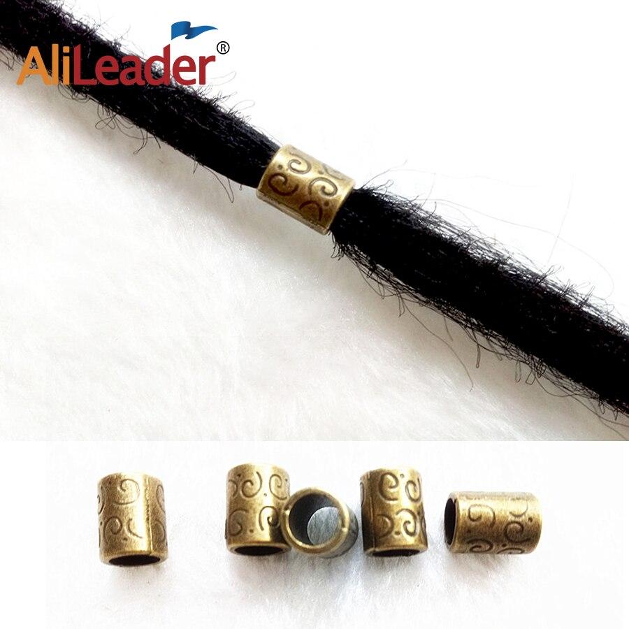 2018 Hot Selling Copper Bronze Dreadlock Dread Beads Hair Braid Tube Ring Cuff Clip 5mm Hole Hair Braiding Extension Accessories