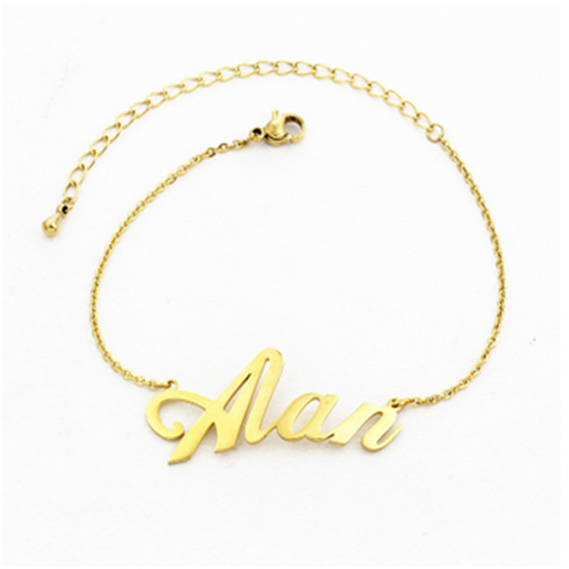 Stainless Steel Personalized Any Name Bracelets & Bangles Three Color Handwriting Signature Customized Bracelet For Women Men