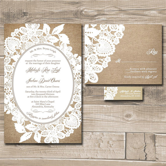 rustic burlap and lace bridal shower invitations with rsvp cards