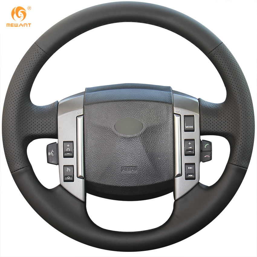 MEWANT Black Genuine Leather Car Steering Wheel Cover for Land Rover Discovery 3 2004-2009 dsycar 1pair car styling steering wheel zinc alloy shift paddles for land rover aurora freelander discoverer range rover jaguar