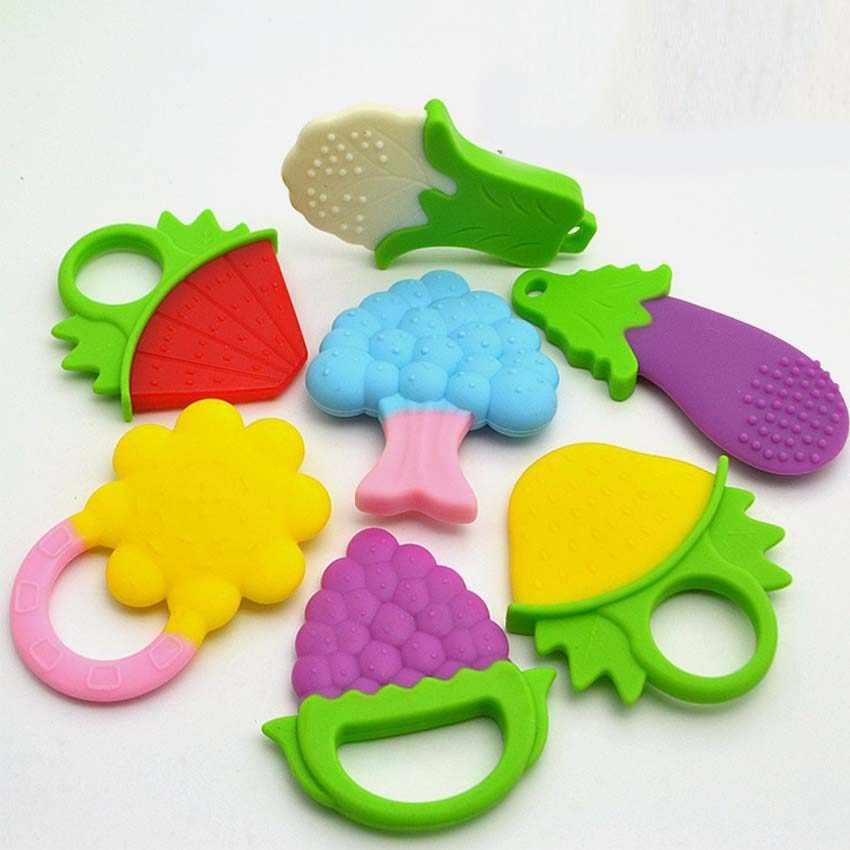 Bebé bebé mordedor de silicona mapache 1 pieza libre de BPA frutas coloridas mordedor ducha dentición bebé mordedor