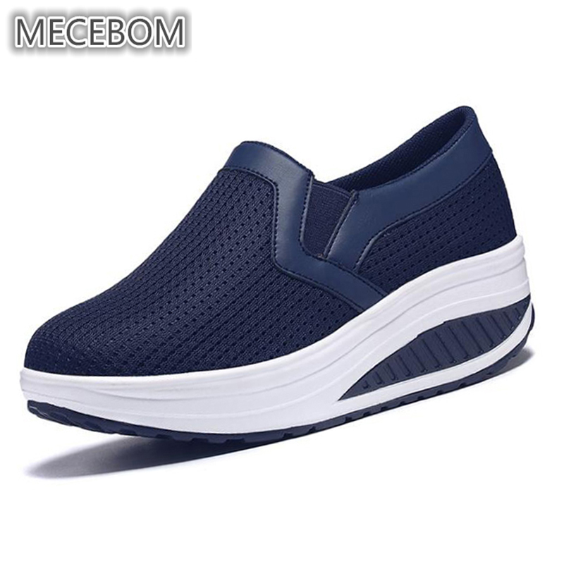 Spring Flat Platform Loafers Shoes Woman Breathable Mesh Zapatos Mujer Light Slip On For Ladies Shoes Casual Flats 1608W