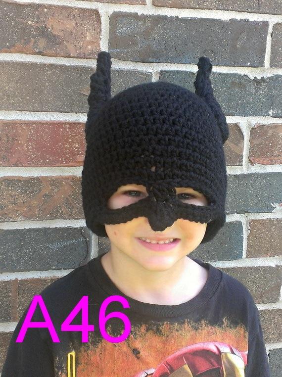 free shipping, 50pcs New Cute Handmade Newborn Baby Child Girls boys Batman mask Crochet Hat Beanies Photograph Photo props