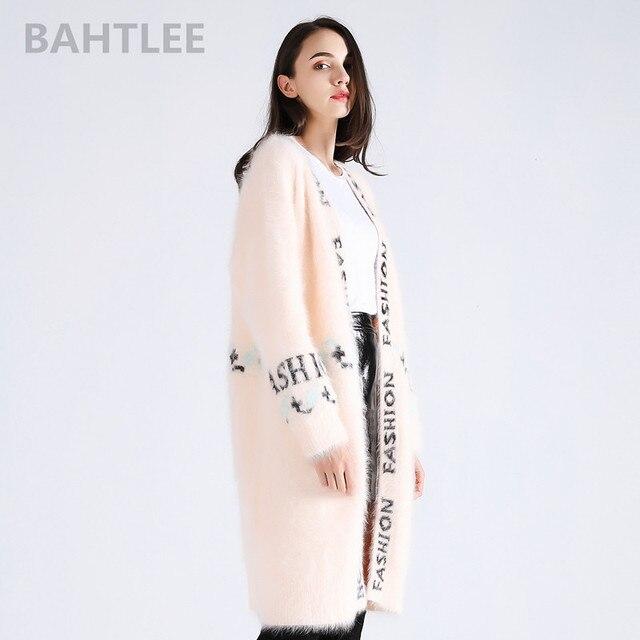 BAHTLEE zimowy damski angora królik długie kardigany sweter norek z kaszmiru sweter z dzianiny luźniejszy utrzymać ciepły list pleciona żakardowa