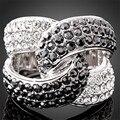 Novo 2014 Jóias Branco Clássico Banhado A Ouro Bloqueio Cruz Design Com Cristais Studded Casamento Anéis de Noivado Para As Mulheres J00924