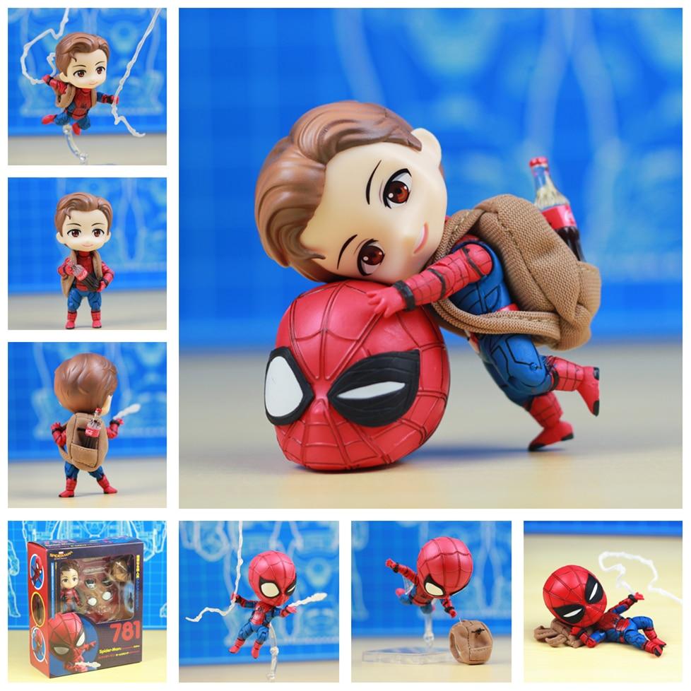 NEW Marvel Homecoming Cute Spider Man 10cm Kawaii Action Figure Q Tom Holland Avengers Spiderman Toys Doll KO's Nendoroid 781 ( China Version )