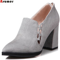 ASUMER Black Gray Fashion Apring Autumn Ladies Pumps Pointed Toe Zip Pointed Toe Square Heel Women